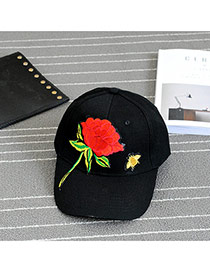 Fashion Black Embroidery Flower Pattern Decorated Pure Color Baseball Cap