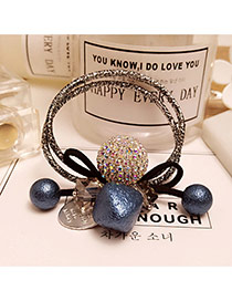 Elegant Blue Round Balls Decorated Double Layer Color Matching Hair Band