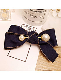 Fashion Navy Pearld Decorated Flower Shape Design Hair Clip