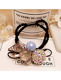 Fashion Blue Round Balls&leaf Pendant Decorated Double Layer Hair Band
