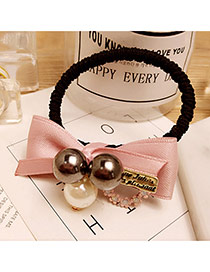 Fashion Pink Flower&pearls Decorated Color Matching Simple Hair Band