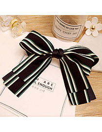 Fashion Navy Stripe Pattern Decorated Bowknot Shape Hair Pin