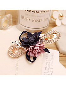 Elegant Navy+pink Flower Decorated Color Matching Hollow Out Hair Pin