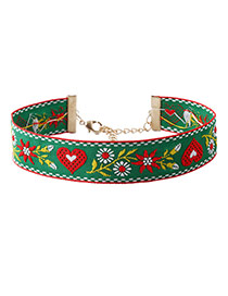 Fashion Green Embroidery Flower Pattern Decorated Color Matching Choker