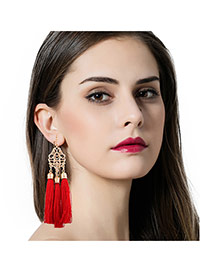 Fashion Red Long Tassel Pendant Decorated Hollow Out Flower Design Necklace