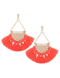 Fashion Pink Tassel Pendant Decorated Sector Shape Design Necklace
