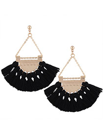 Fashion Black Tassel Pendant Decorated Sector Shape Design Necklace