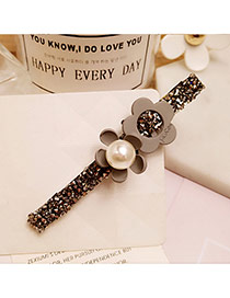 Fashion Gray Big Pearl Decorated Flower Shape Design Simple Hair Pin