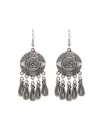 Fashion Silver Color Flower Pattern Decorated Tassel Design Simple Earings