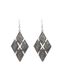 Fashion Silver Color Rhombus Shape Decorated Hollow Out Simple Earrings
