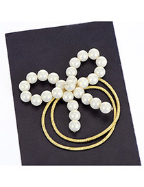 Fashion Beige Pearls Decorated Bowknot Shape Double Layer Hair Band