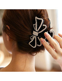Fashion Black Diamond Decorated Hollow Out Bowknot Shape Hair Claw