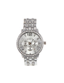 Fashion Silver Color Diamond Decorated Round Dail Pure Color Watch