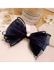 Elegant Navy Pearls Decorated Bowknot Shape Pure Color Hair Pin