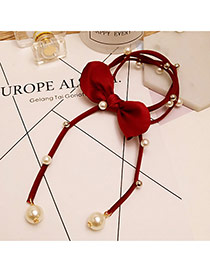 Sweet Claret Red Pearls&bowknot Decorated Pure Color Hair Band