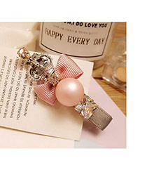 Fashion Pink Bowknot Decorated Crown Design Duckbilled Shape Hair Pin