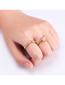 Fashion Gold Color Round Shape Diamond Decorated Pure Color Ring(2pcs)