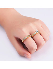 Elegant Gold Color Round Shape Diamond Decorated Pure Color Ring(2pcs)