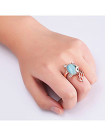 Fashion Rose Gold Fox Decorated Hollow Out Color Matching Ring