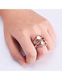 Fashion Rose Gold Diamond Decorated Irregular Shape Simple Ring