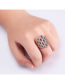 Fashion Rose Gold Round Shape Diamond Decorated Hollow Out Ring