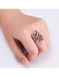 Fashion Rose Gold Leaf Shape Decorated Hollow Out Simple Ring