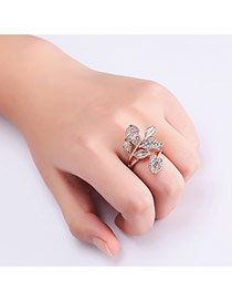 Fashion Rose Gold Diamond Decorated Leaf Shape Pure Color Ring
