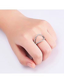 Fashion Silver Color Pure Color Decorated Hollow Out Design Ring