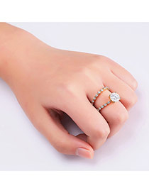 Fashion Gold Color Big Diamond Decorated Pure Color Simple Ring (2pcs)