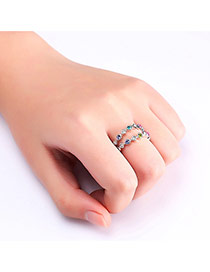 Fashion Silver Color Color Matching Decorated Double Layer Simple Ring