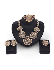 Fashion Gold Color Flower Decorated Hollow Out Design Pure Color Jewelry Sets (4pcs)