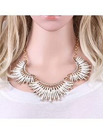 Fashion White Tube Shape Decorated Pure Color Irregular Shape Necklace