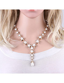 Fashion Gold Color Diamonds&pearls Decorated Flower Shape Necklace