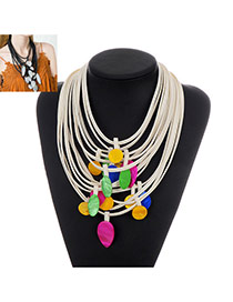 Fashion White Round Shape Decorated Color Matching Necklace