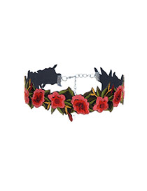 Fashion Multi-color Flowers Decorated Color Matching Simple Choker