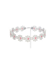 Fashion Pink Daisy Decorated Color Matching Hollow Out Simple Choker