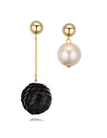 Fashion Black Ball Shape&pearl Pendant Decorated Asymmetrical Design Earrings