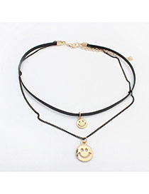 Fashion Gold Color Two Smiling Faces Pendant Decorated Double Layer Necklace