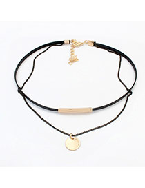 Fashion Gold Color Round Shape Pendant Decorated Double Layer Necklace