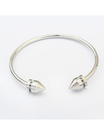Fashion Silver Color Pure Color Decorated Taper Shape Opening Bracelet