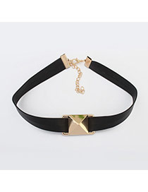 Vintage Black+gold Color Square Shape Decorated Simple Width Choker