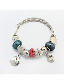 Fashion Multi-color Smiling Face&heart Pendant Decorated Color Matching Bracelet