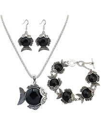 Personality Black Metal Fish Pendant Decorated Simple Long Chain Jewelry Sets