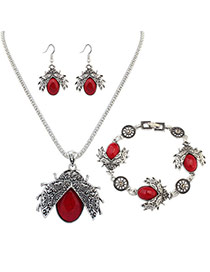 Personality Red Metal Beatles Pendant Decorated Simple Long Chain Jewelry Sets