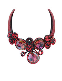 Vintage Red Spiral Flowe Shape Decorated Multilayer Necklace
