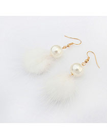 Elegant White Hairy Ball Shape Pendant Decorated Pure Color Earring