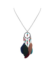 Fashion Multi-color Feather Pendant Decorated Round Shape Design Simple Necklace