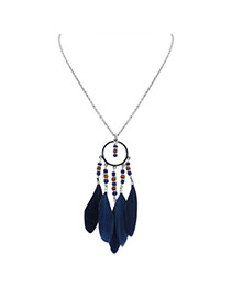 Fashion Dark Blue Feather Pendant Decorated Round Shape Design Simple Necklace