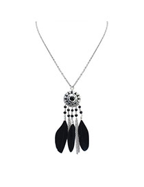 Fashion Black Feather&long Tassel Pendant Decorated Rays Of Light Design Necklace