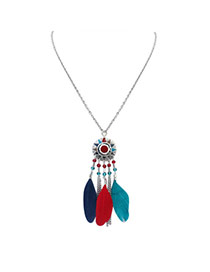 Fashion Multi-color Feather&long Tassel Pendant Decorated Rays Of Light Design Necklace